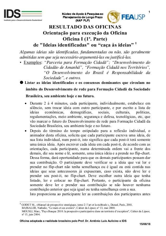 Oficina adaptada a realidade brasileira pelo Prof. Dr. Antônio Luís Aulicino e IDS 15/08/18 1 RESULTADO DAS OFICINAS Orien...