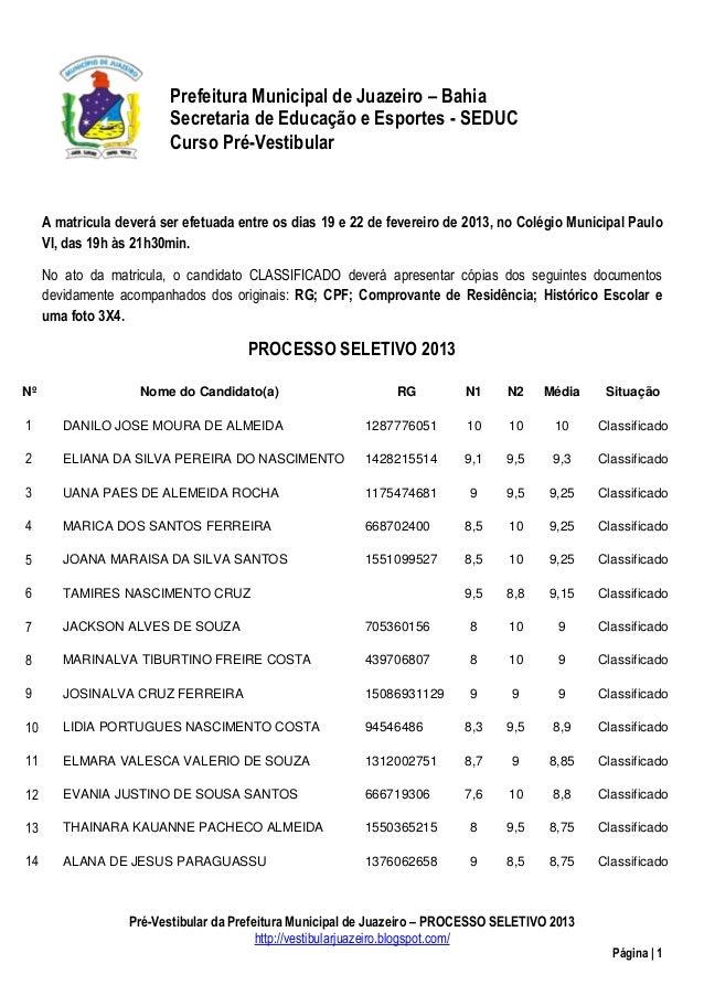 Prefeitura Municipal de Juazeiro – Bahia                          Secretaria de Educação e Esportes - SEDUC               ...