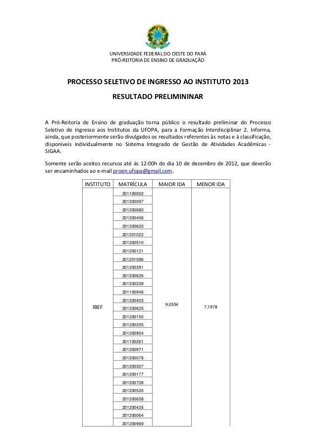 UNIVERSIDADE FEDERAL DO OESTE DO PARÁ                            PRÓ-REITORIA DE ENSINO DE GRADUAÇÃO         PROCESSO SELE...
