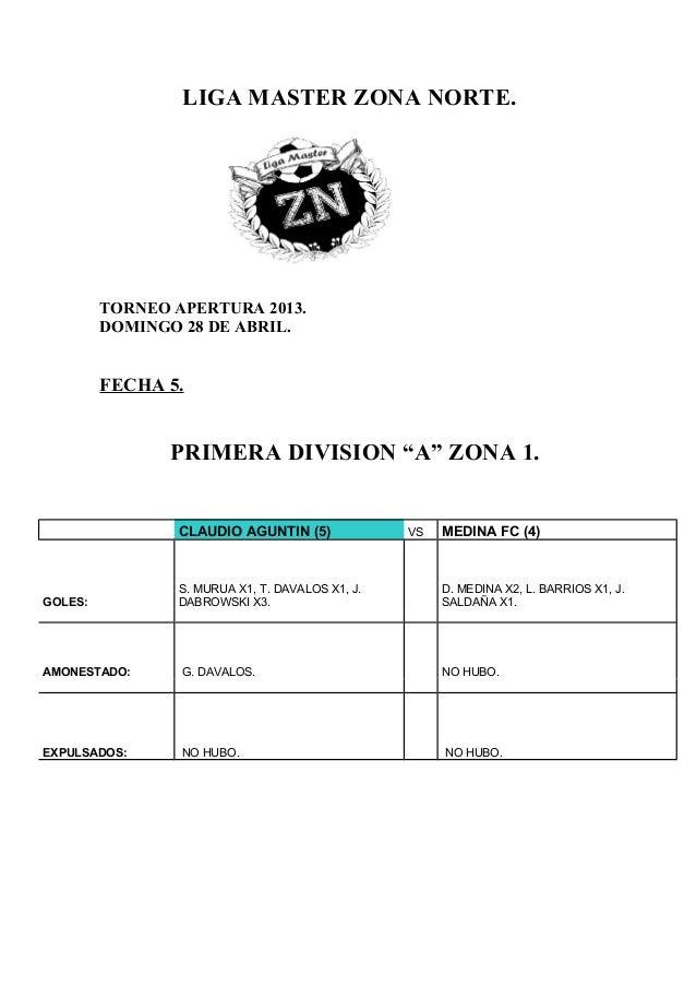 """LIGA MASTER ZONA NORTE.TORNEO APERTURA 2013.DOMINGO 28 DE ABRIL.FECHA 5.PRIMERA DIVISION """"A"""" ZONA 1.CLAUDIO AGUNTIN (5) VS..."""