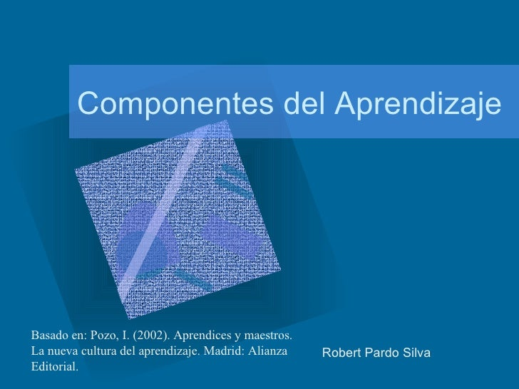 Componentes del Aprendizaje Robert Pardo Silva  Basado en: Pozo, I. (2002). Aprendices y maestros. La nueva cultura del ap...