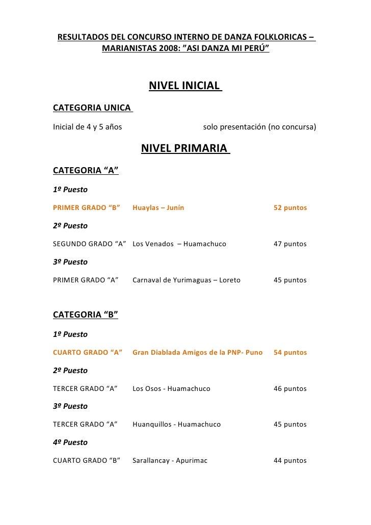 """RESULTADOS DEL CONCURSO INTERNO DE DANZA FOLKLORICAS –           MARIANISTAS 2008: """"ASI DANZA MI PERÚ""""                    ..."""