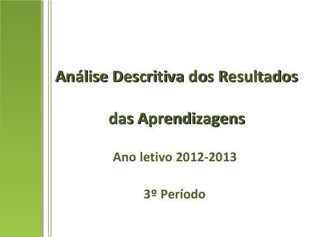 Análise Descritiva dos ResultadosAnálise Descritiva dos Resultados das Aprendizagensdas Aprendizagens Ano letivo 2012-2013...