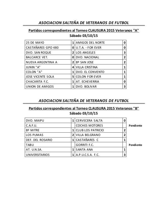 """ASOCIACION SALTEÑA DE VETERANOS DE FUTBOL Partidos correspondientes al Torneo CLAUSURA 2015 Veteranos """"A"""" Sábado 03/10/15 ..."""