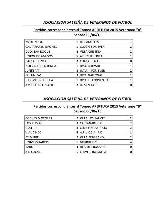"""ASOCIACION SALTEÑA DE VETERANOS DE FUTBOL Partidos correspondientes al Torneo APERTURA 2015 Veteranos """"A"""" Sábado 06/06/15 ..."""