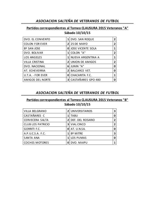 """ASOCIACION SALTEÑA DE VETERANOS DE FUTBOL Partidos correspondientes al Torneo CLAUSURA 2015 Veteranos """"A"""" Sábado 10/10/15 ..."""