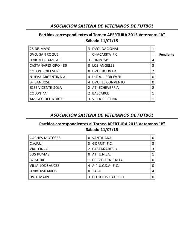 """ASOCIACION SALTEÑA DE VETERANOS DE FUTBOL Partidos correspondientes al Torneo APERTURA 2015 Veteranos """"A"""" Sábado 11/07/15 ..."""