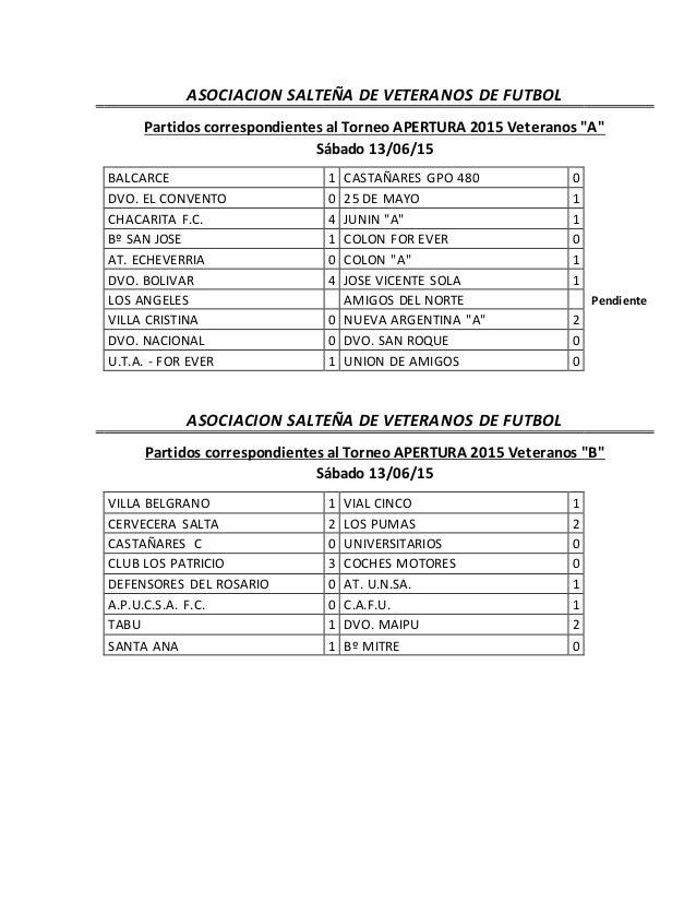 """ASOCIACION SALTEÑA DE VETERANOS DE FUTBOL Partidos correspondientes al Torneo APERTURA 2015 Veteranos """"A"""" Sábado 13/06/15 ..."""