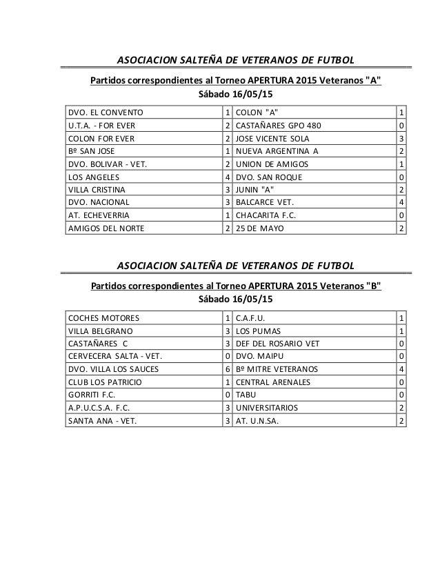 """ASOCIACION SALTEÑA DE VETERANOS DE FUTBOL Partidos correspondientes al Torneo APERTURA 2015 Veteranos """"A"""" Sábado 16/05/15 ..."""