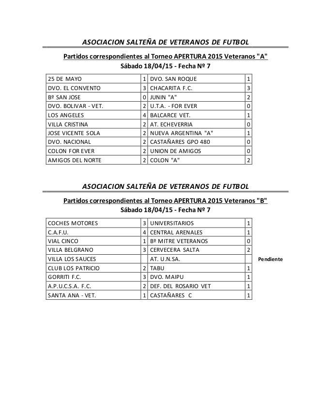 """ASOCIACION SALTEÑA DE VETERANOS DE FUTBOL Partidos correspondientes al Torneo APERTURA 2015 Veteranos """"A"""" Sábado 18/04/15 ..."""