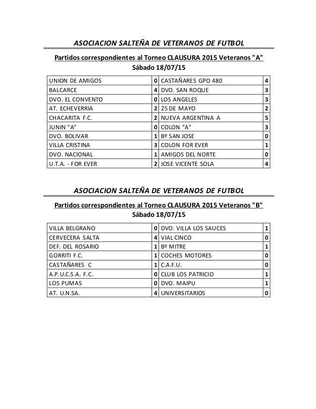 """ASOCIACION SALTEÑA DE VETERANOS DE FUTBOL Partidos correspondientes al Torneo CLAUSURA 2015 Veteranos """"A"""" Sábado 18/07/15 ..."""