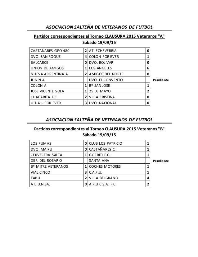"""ASOCIACION SALTEÑA DE VETERANOS DE FUTBOL Partidos correspondientes al Torneo CLAUSURA 2015 Veteranos """"A"""" Sábado 19/09/15 ..."""