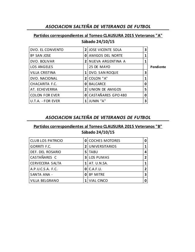 """ASOCIACION SALTEÑA DE VETERANOS DE FUTBOL Partidos correspondientes al Torneo CLAUSURA 2015 Veteranos """"A"""" Sábado 24/10/15 ..."""