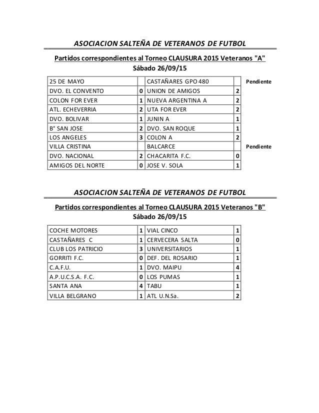 """ASOCIACION SALTEÑA DE VETERANOS DE FUTBOL Partidos correspondientes al Torneo CLAUSURA 2015 Veteranos """"A"""" Sábado 26/09/15 ..."""