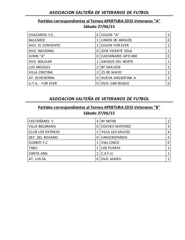"""ASOCIACION SALTEÑA DE VETERANOS DE FUTBOL Partidos correspondientes al Torneo APERTURA 2015 Veteranos """"A"""" Sábado 27/06/15 ..."""