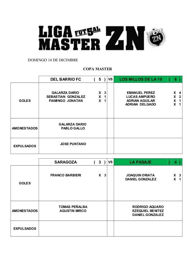 DOMINGO 14 DE DICIMBRE  COPA MASTER  DEL BARRIO FC ( 5 ) VS LOS MILLOS DE LA 10 ( 8 )  GOLES  GALARZA DARIO X 3 EMANUEL PE...