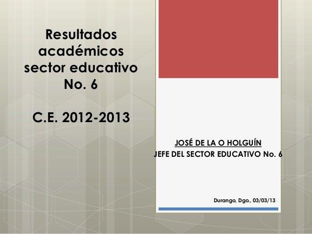 Resultados  académicossector educativo      No. 6 C.E. 2012-2013                         JOSÉ DE LA O HOLGUÍN             ...
