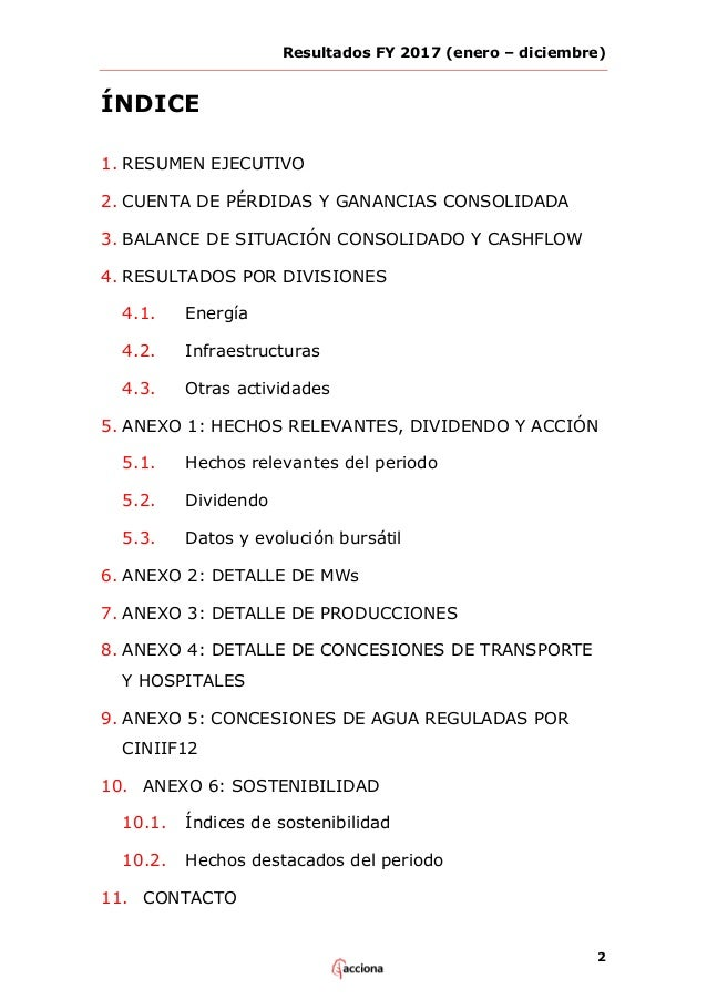ACCIONA Informe de resultados 2017