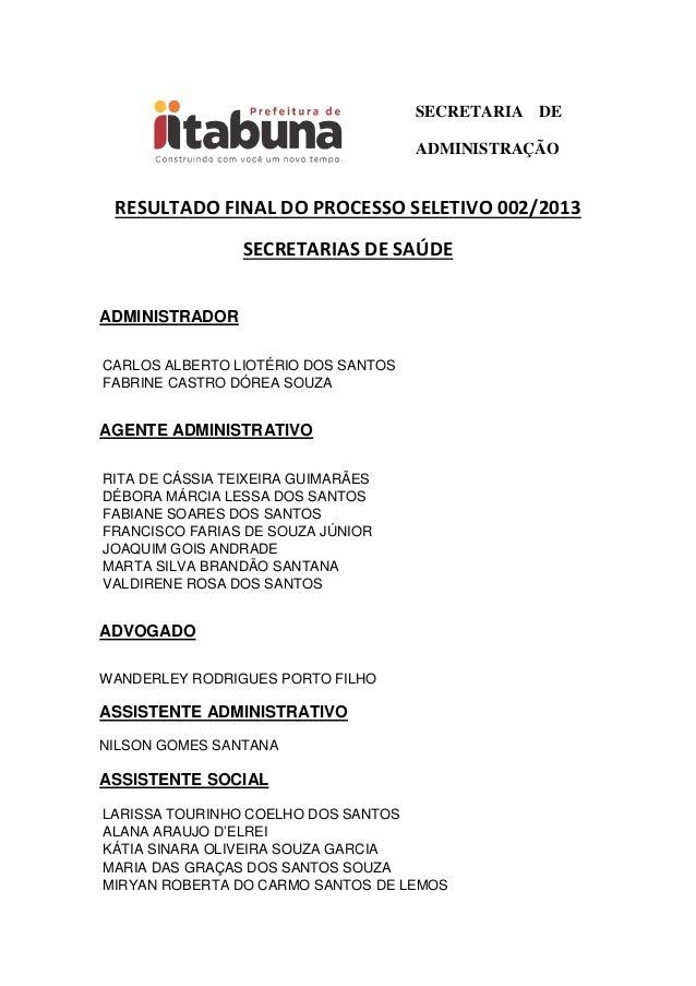 SECRETARIA DEADMINISTRAÇÃORESULTADO FINAL DO PROCESSO SELETIVO 002/2013SECRETARIAS DE SAÚDEADMINISTRADORCARLOS ALBERTO LIO...