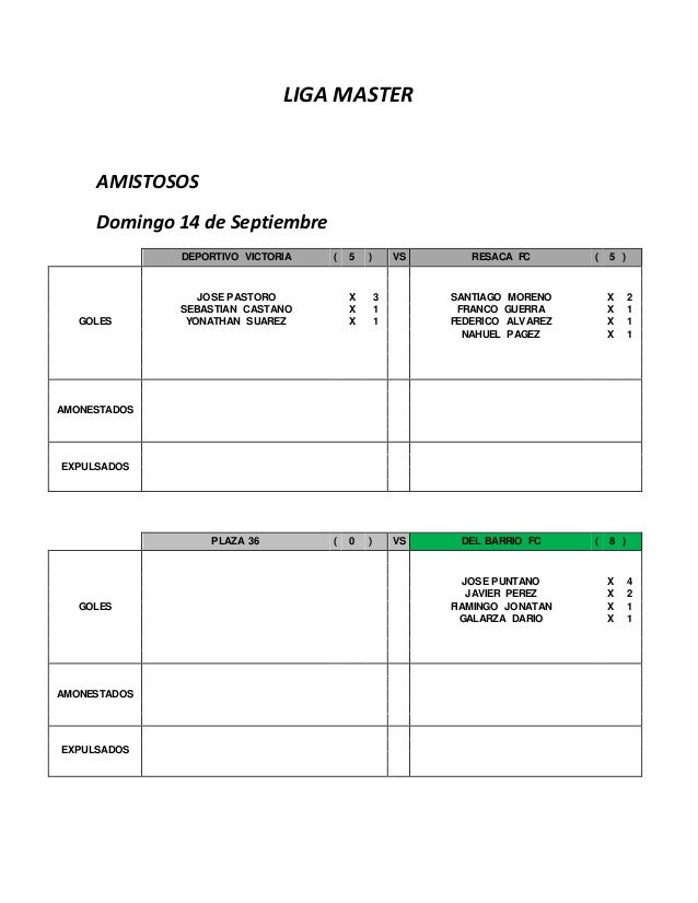 LIGA MASTER  AMISTOSOS  Domingo 14 de Septiembre  DEPORTIVO VICTORIA ( 5 ) VS RESACA FC ( 5 )  GOLES  JOSE PASTORO X 3 SAN...