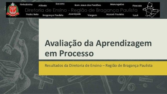 Avaliação da Aprendizagemem ProcessoResultados da Diretoria de Ensino – Região de Bragança Paulista