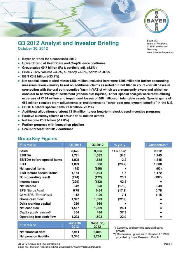 Bayer AGQ3 2012 Analyst and Investor Briefing                                                              Investor Relati...