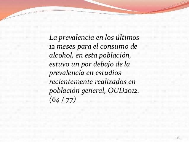 La prevalencia en los últimos 12 meses para el consumo de alcohol, en esta población, estuvo un por debajo de la prevalenc...