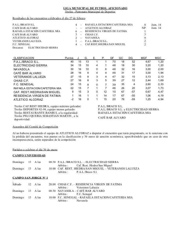 LIGA MUNICIPAL DE FUTBOL AFICIONADO                                          Trofeo : Patronato Municipal de DeportesResul...