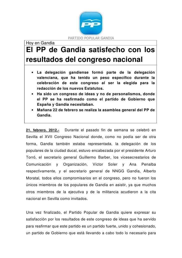 PARTIDO POPULAR GANDIAHoy en GandiaEl PP de Gandia satisfecho con losresultados del congreso nacional   • La delegación ga...