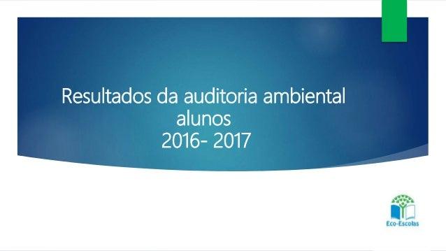 Resultados da auditoria ambiental alunos 2016- 2017 Professores – assistentes operacionais e alunos