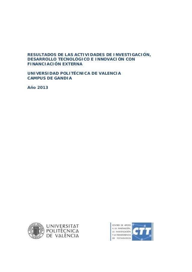 RESULTADOS DE LAS ACTIVIDADES DE INVESTIGACIÓN, DESARROLLO TECNOLÓGICO E INNOVACIÓN CON FINANCIACIÓN EXTERNA UNIVERSIDAD...