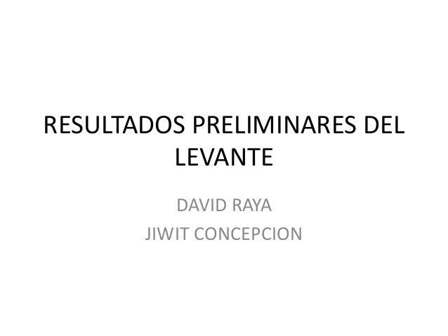 RESULTADOS PRELIMINARES DEL LEVANTE DAVID RAYA JIWIT CONCEPCION