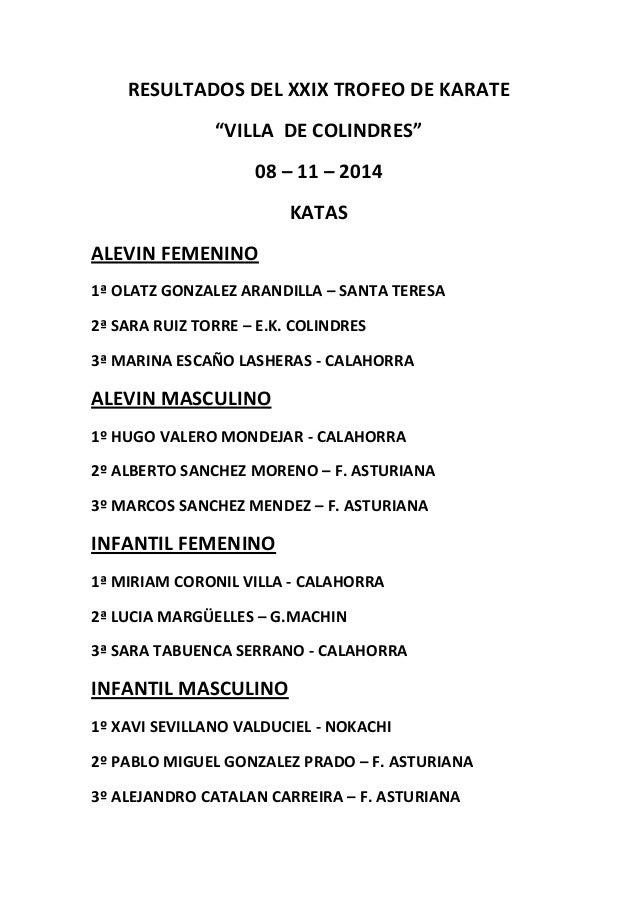 "RESULTADOS DEL XXIX TROFEO DE KARATE  ""VILLA DE COLINDRES""  08 – 11 – 2014  KATAS  ALEVIN FEMENINO  1ª OLATZ GONZALEZ ARAN..."