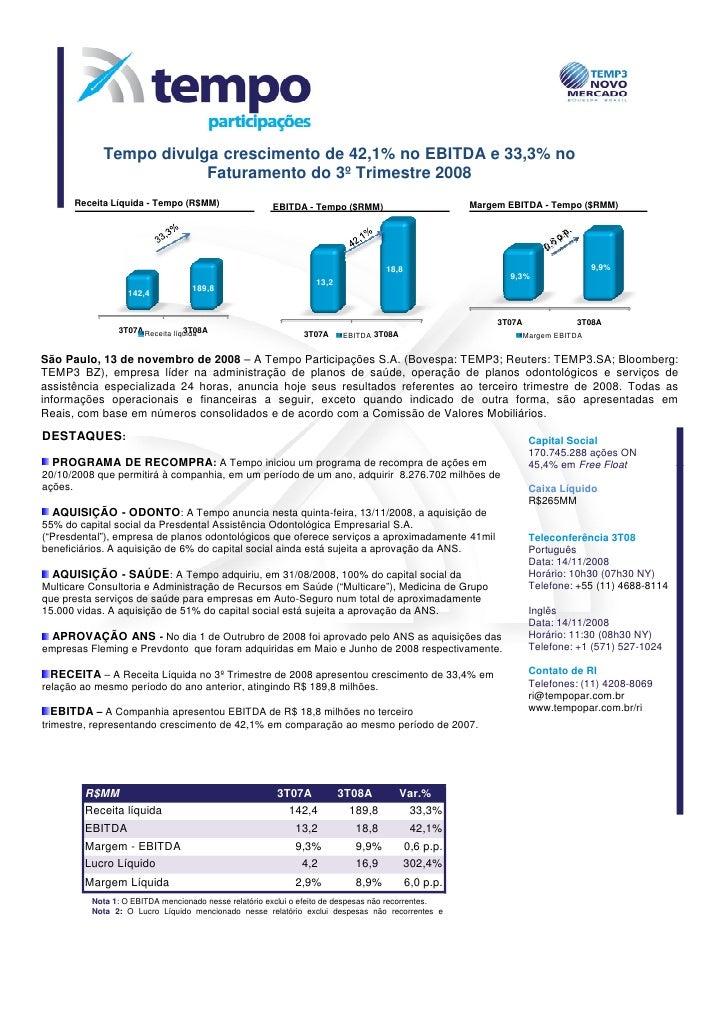 Tempo divulga crescimento de 42,1% no EBITDA e 33,3% no                         Faturamento do 3º Trimestre 2008       Rec...