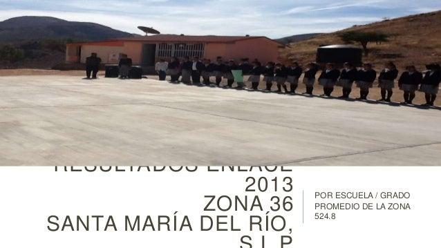 RESULTADOS ENLACE 2013 ZONA 36 SANTA MARÍA DEL RÍO,  POR ESCUELA / GRADO PROMEDIO DE LA ZONA 524.8
