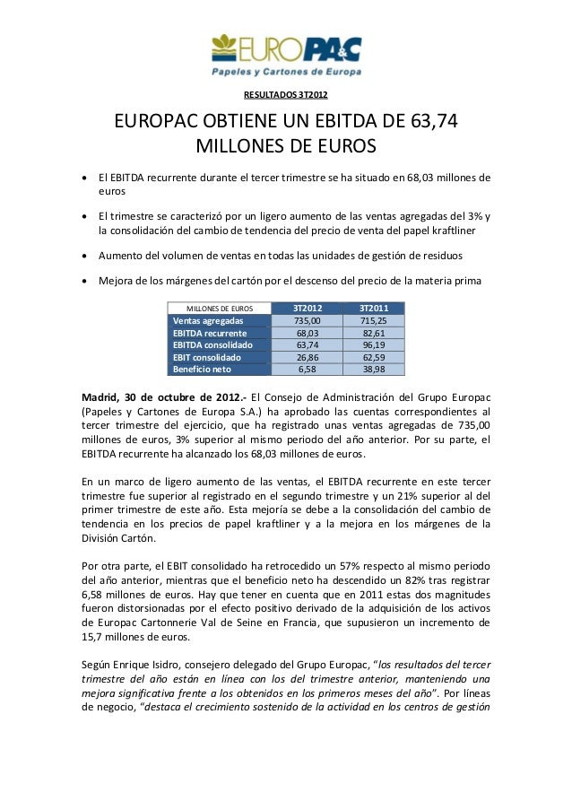 RESULTADOS3T2012        EUROPACOBTIENEUNEBITDADE63,74               MILL...