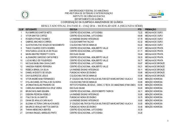1 UNIVERSIDADE FEDERAL DO AMAZONAS PRÓ-REITORIA DE EXTENSÃO E INTERIORIZAÇÃO INSTITUTO DE CIÊNCIAS EXATAS DEPARTAMENTO DE ...