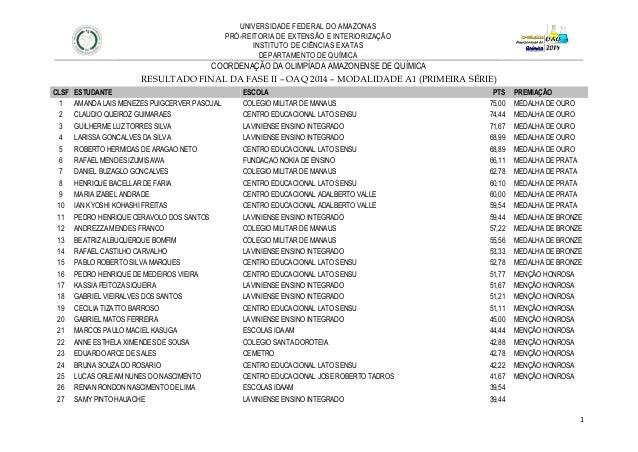 1  UNIVERSIDADE FEDERAL DO AMAZONAS  PRÓ-REITORIA DE EXTENSÃO E INTERIORIZAÇÃO  INSTITUTO DE CIÊNCIAS EXATAS  DEPARTAMENTO...