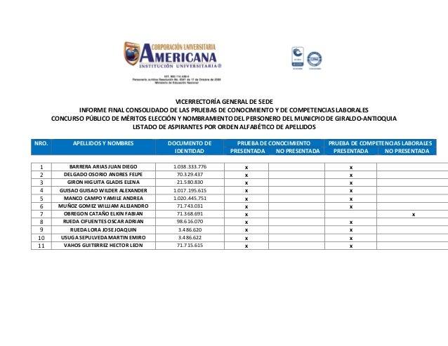 VICERRECTORÍA GENERAL DE SEDE INFORME FINAL CONSOLIDADO DE LAS PRUEBAS DE CONOCIMIENTO Y DE COMPETENCIAS LABORALES CONCURS...