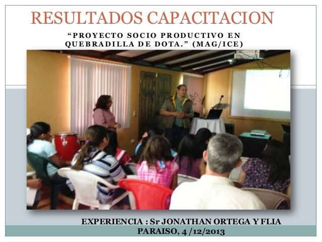 """RESULTADOS CAPACITACION """"PROYECTO SOCIO PRODUCTIVO EN QUEBRADILLA DE DOTA."""" (MAG/ICE)  EXPERIENCIA : Sr JONATHAN ORTEGA Y ..."""