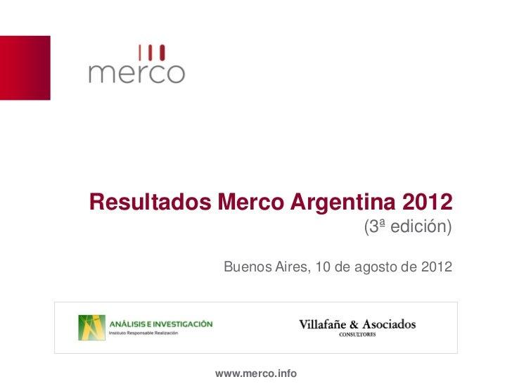 Resultados Merco Argentina 2012                               (3ª edición)           Buenos Aires, 10 de agosto de 2012   ...