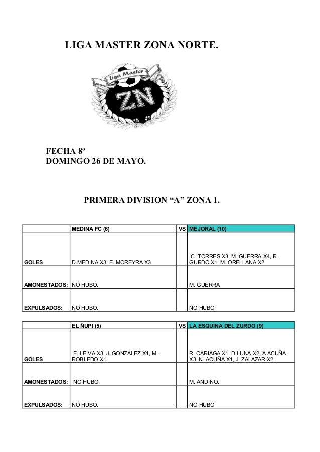 """LIGA MASTER ZONA NORTE.FECHA 8ºDOMINGO 26 DE MAYO.PRIMERA DIVISION """"A"""" ZONA 1.MEDINA FC (6) VS MEJORAL (10)GOLES D.MEDINA ..."""