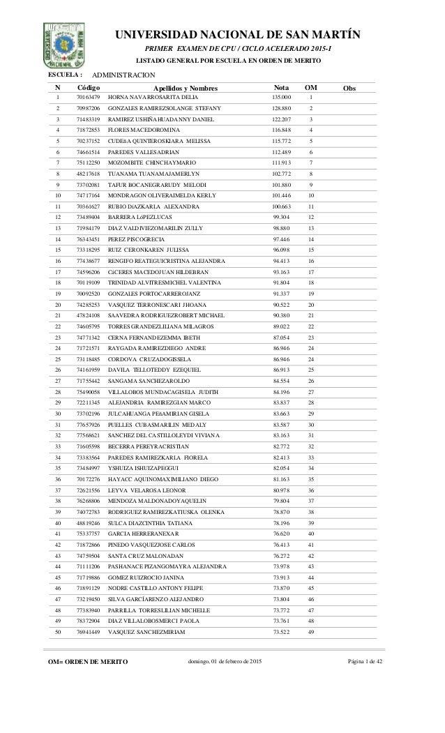 UNIVERSIDAD NACIONAL DE SAN MARTÍN ADMINISTRACION N Código Apellidos y Nombres Nota OM Obs ESCUELA : PRIMER EXAMEN DE CPU ...