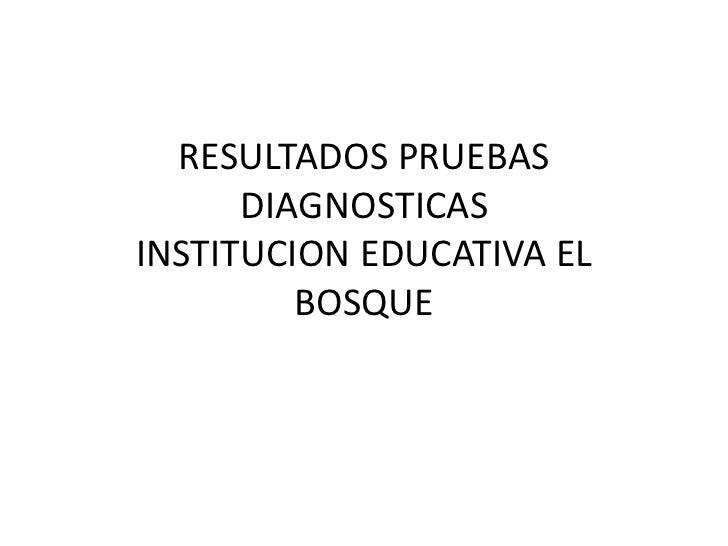 RESULTADOS PRUEBAS      DIAGNOSTICASINSTITUCION EDUCATIVA EL         BOSQUE