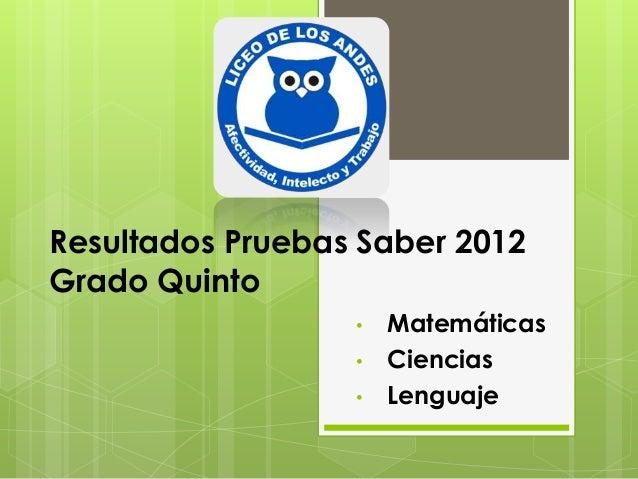 Resultados Pruebas Saber 2012Grado Quinto                  •   Matemáticas                  •   Ciencias                  ...