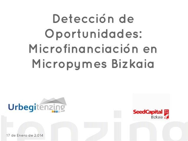 Detección de Oportunidades: Microfinanciación en Micropymes Bizkaia http://www.tenzing.urbegi.com/ 17 de Enero de 2.014