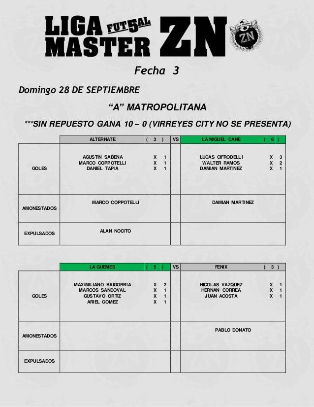 """Fecha 3  Domingo 28 DE SEPTIEMBRE  """"A"""" MATROPOLITANA  ***SIN REPUESTO GANA 10 – 0 (VIRREYES CITY NO SE PRESENTA)  ALTERNAT..."""