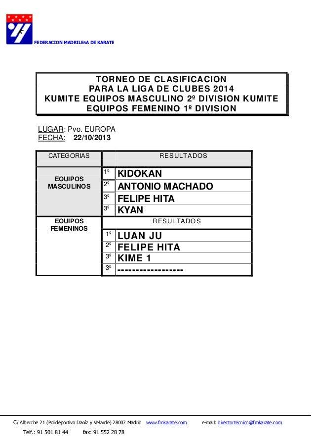 FEDERACION MADRILEÑA DE KARATE  TORNEO DE CLASIFICACION PARA LA LIGA DE CLUBES 2014 KUMITE EQUIPOS MASCULINO 2º DIVISION K...