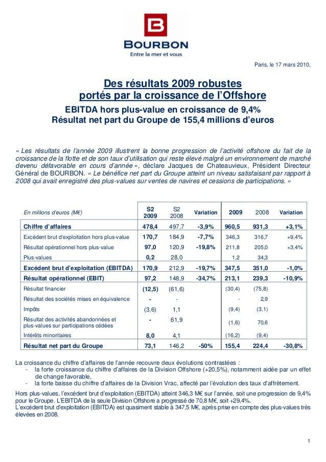 1 Paris, le 17 mars 2010, Des résultats 2009 robustes portés par la croissance de l'Offshore EBITDA hors plus-value en cro...