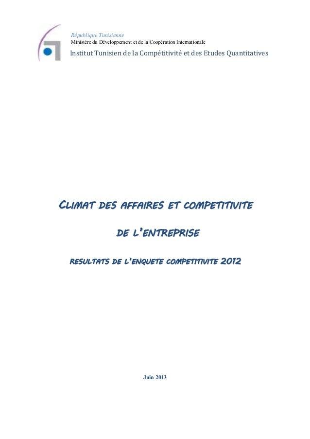 République Tunisienne Ministère du Développement et de la Coopération Internationale  Institut Tunisien de la Compétitivit...
